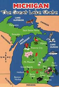 Details about State Map of Michigan, Great Lakes, Canada, Detroit etc  Beautiful 5 x 7 Postcard