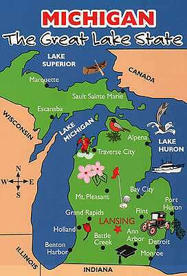 Map Of Canada 5 Great Lakes.State Map Of Michigan Great Lakes Canada Detroit Etc Beautiful 5 X 7 Postcard Ebay