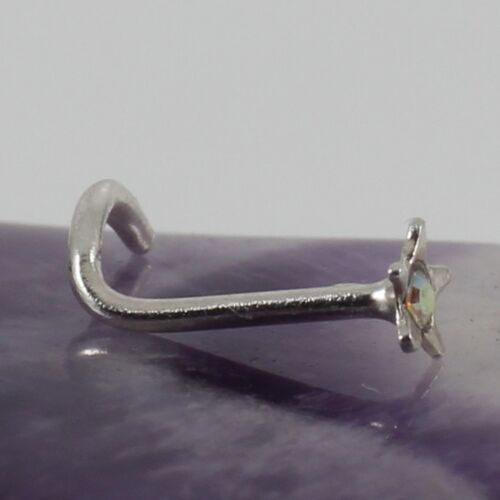 Curved Nose Stud Screw Petite Solid Sterling Silver Star 2mm AB Crystal 22g New