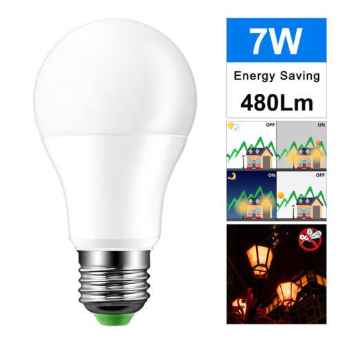 E27 7W Led Sensor Light Lamp Automatic Dusk to Dawn Bulb 120//220V Indoor Outdoor