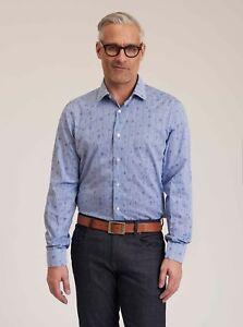 Robert-Graham-Glen-L-S-Checkered-Skull-Print-Sport-Shirt-Blue