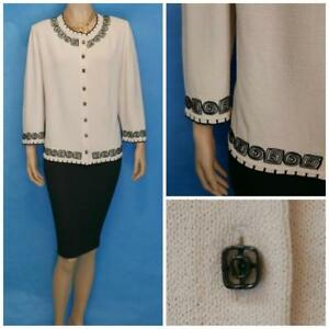St-John-Collection-Knits-Cream-Jacket-L-14-12-Suit-Blazer-Buttons-Black-Trims