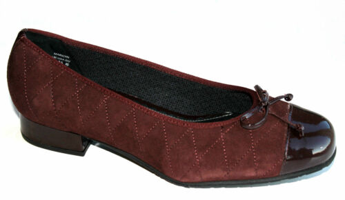 Hotter Marilyn Extra Wide Ruby Red Suede//Leather Diamond Stitch Shoes RRP £75