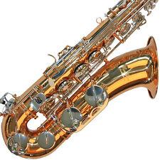 Karl Glaser Tenor Saxophon in Chrom + Gold, mit Koffer, Mundstück + Blättchen