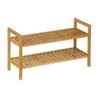 Criss Cross Design 2 Tier Shoe Organise Rack Walnut Wood Storage Stand