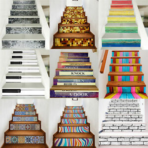 Image Is Loading 3D 6pc Stair Stickers Risers Decoration Photo Mural