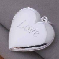 Schöne Sterling-Silber überzogene Charm Herz Fotorahme Anhänger Halsketten CATH