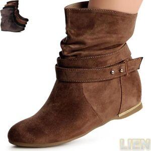 Damen-Stiefeletten-Hidden-Wedges-Keilabsatz-Halbstiefel-Boots-Booties-Riemchen