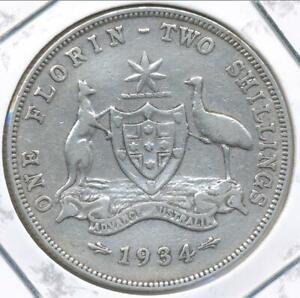 Australia 1934 Florin 2/- George V (Silver) - almost Fine