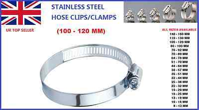 100 - 120 MM STAINLESS STEEL HOSE CLIPS CLAMPS PIPE TUBE AIR GAS FUEL WATER