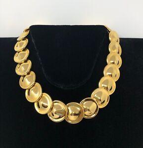 Vintage-Monet-Gold-Tone-Disk-Link-Choker-Necklace