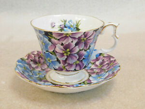 Royal-Albert-Purple-Blue-Hydrangea-Bone-China-Angela-Gold-Trim-Tea-Cup-Saucer