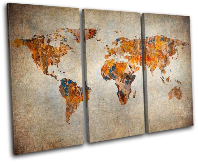 Grunge World Atlas Maps Flags TREBLE CANVAS WALL ART Picture Print VA