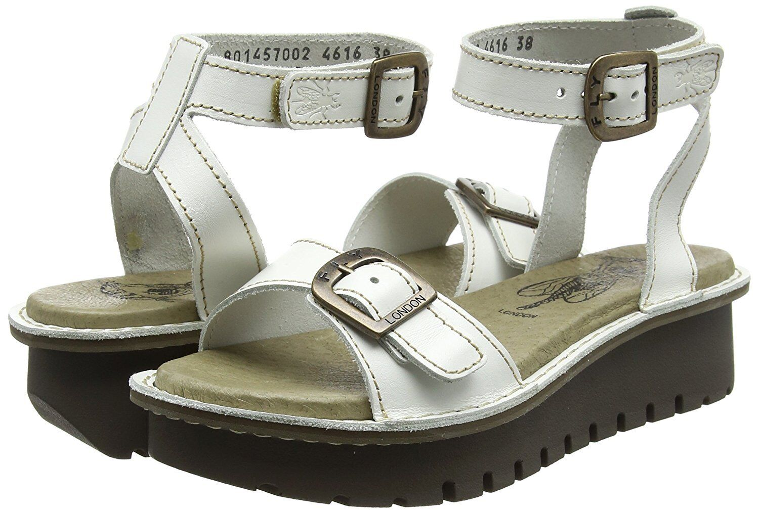 FLY LONDON KYRA457FLY OFF-WHITE LEATHER WEDGE SANDALS UK 4 EUR 37 BNIB