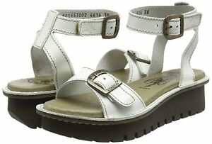 white Wedge 4 Leather 37 London Bnib Sandals Eur Kyra457fly Uk Off Rrp £85 Fly Sfw1HqA