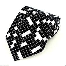 Crossword Puzzle Mens Necktie Newspaper Puzzles Novelty Game Black Neck Tie New
