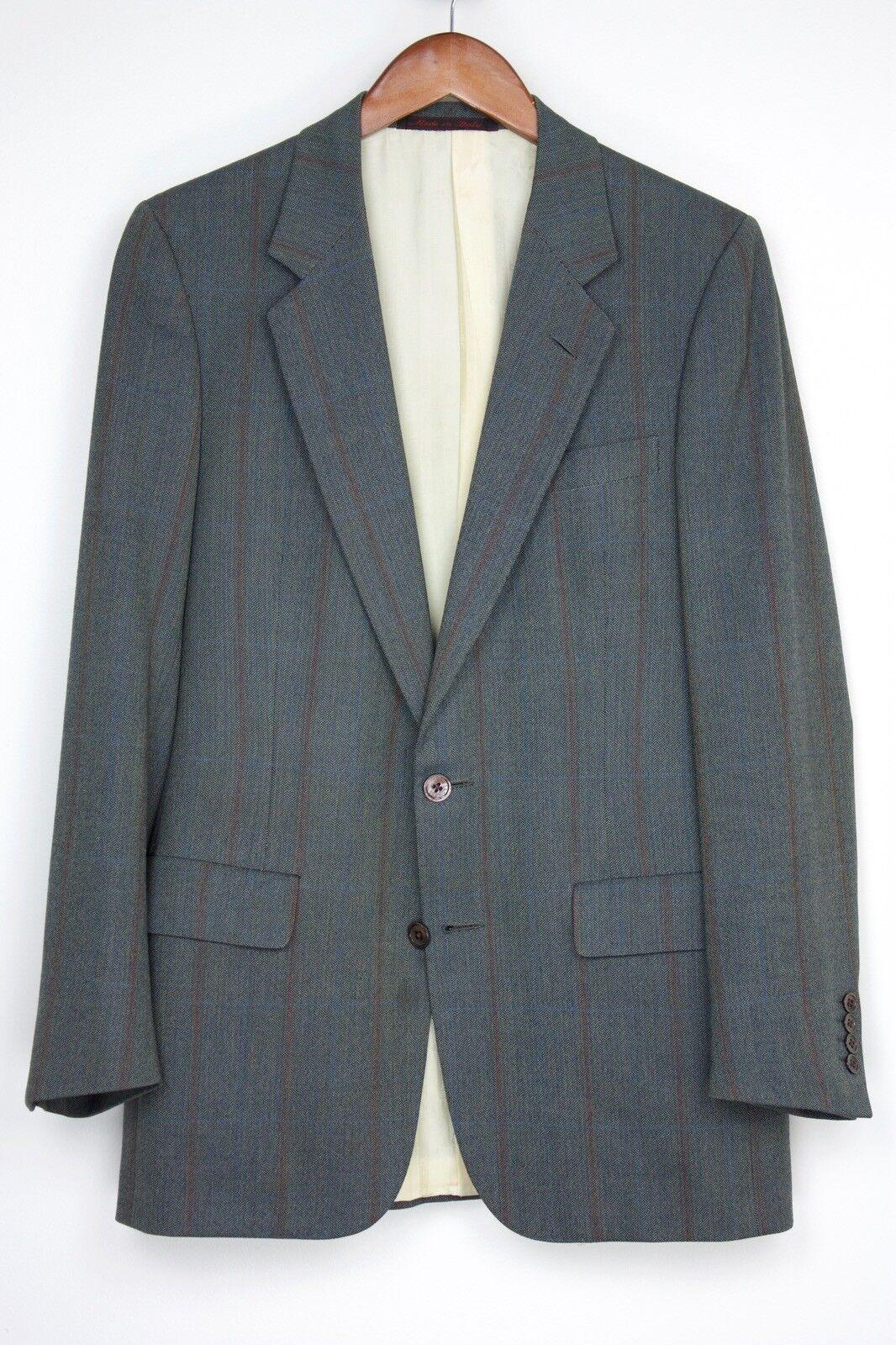 Bijan D'Avenza Wool Suit 38R 34x29 Braun/grau Herringbone Blau ROT Coat Pants