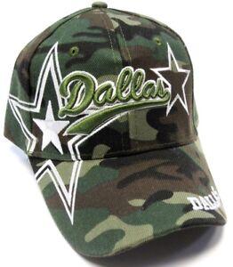 346e2b9c8 Dallas City Camo Hat Cap Script Visor Embroidered Signature Double ...