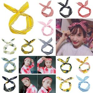 Image is loading Vintage-Wired-Hair-Headband-Bandana-Wrap-Retro-Rockabilly- 6de3f4ba23c
