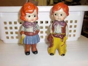 "Made in Japan ~ Vintage Cowboy Cowgirl Bisque 5"" Dolls w/Googley Eyes"