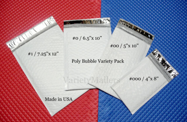 40 Poly Bubble Shipping Envelope Variety ~ 4 Sizes ~ Self-Sealing Padded Mailers
