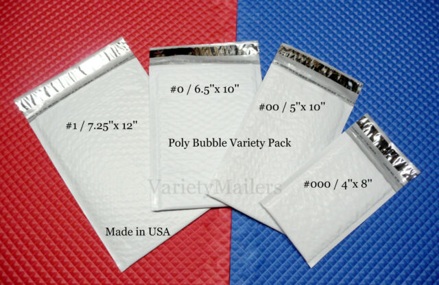 40 POLY BUBBLE POSTAL MAILING ENVELOPE COMBO ~ 4 SIZE VARIETY ~ MADE IN THE USA!