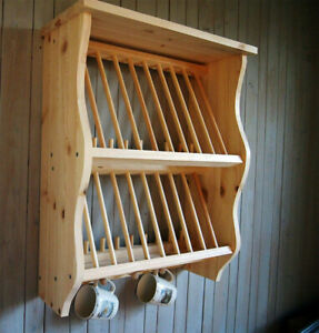 Double Kitchen Plate Rack Shelf Solid Pine Wood Wall