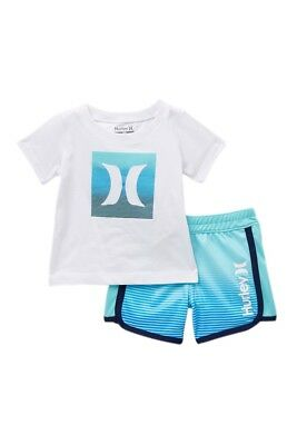 Hurley Infant Toddler 2 Pc T-Shirt Short Sleeve Shorts Set Blue White Ombre Icon