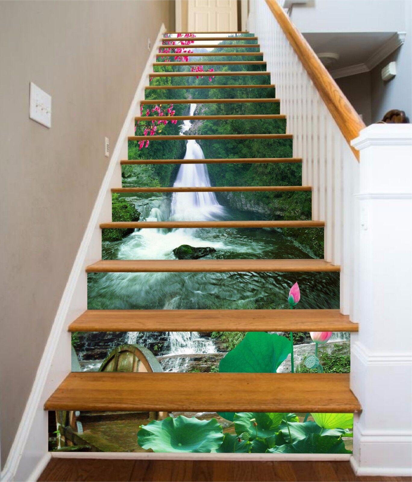 3D Lotus Waterfall 643 Risers Decoration Photo Mural Vinyl Decal Wallpaper CA