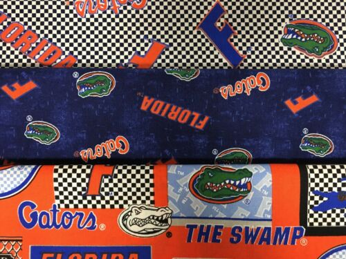 FLORIDA GATORS COTTON FABRIC BT Yard 3 New Prints Sykel Enterprises