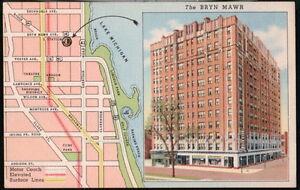CHICAGO-IL-Bryn-Mawr-Hotel-Vtg-Illinois-Linen-Postcard
