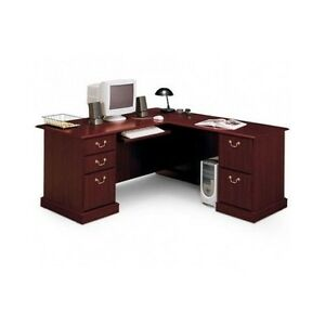 Cherry Executive Desk L Shaped Corner Modern Home Wood
