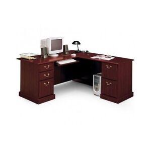 captivating home office desk furniture wood | Cherry Executive Desk L Shaped Corner Modern Home Wood ...