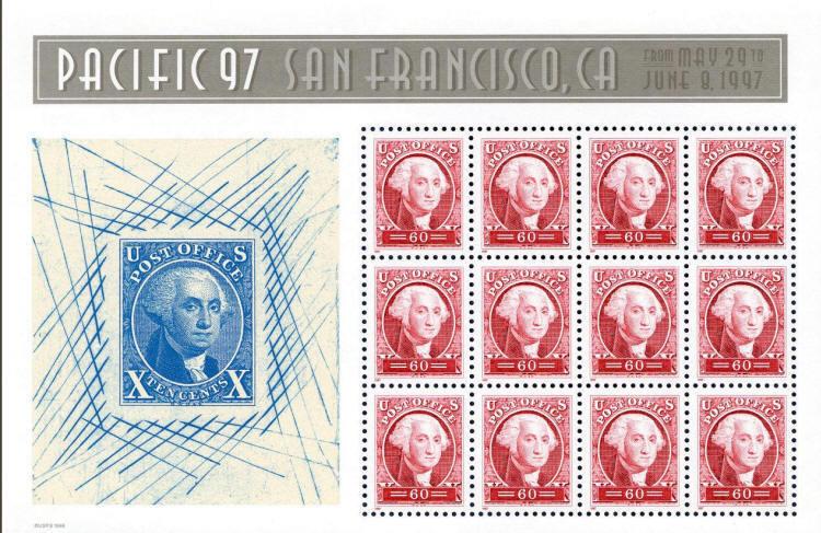 1997 60c Pacific 97, George Washington, Sheet of 12 Sco