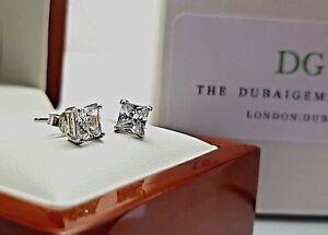 Genuine-Sterling-Silver-Princess-cut-Brilliant-created-diamond-stud-earrings