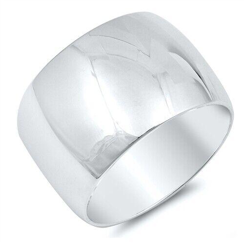 Wedding Band Plain Anneau Véritable Argent Sterling 925 Bijoux largeur 15 mm Taille 7