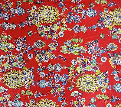"Pure Indian Cotton Material Floral Pattern Red Fabric By The Yard 41"" Wide"