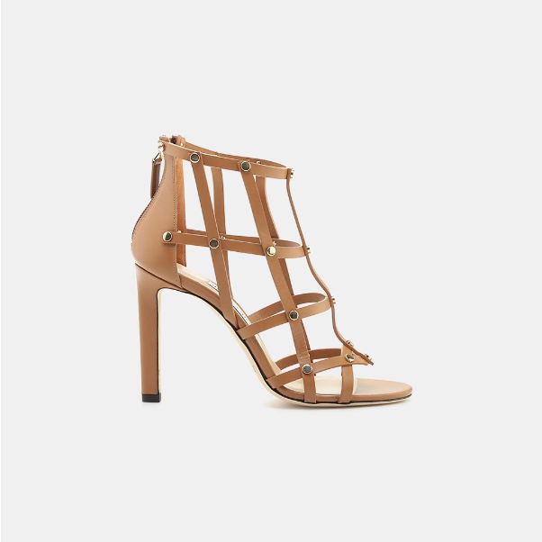 JIMMY CHOO TINA LEATHER CAGED SANDAL-CUOIO LIGHT gold CALF LEATHER - BRAND NEW