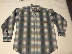 Zeppelin-Button-up-Men-039-s-Shirt-Green-Maroon-Cream-Plaid-Large-Vintage