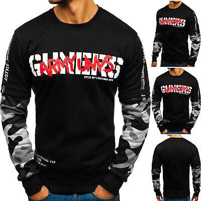 Herren Sweatshirt Langarmshirt Pullover  Rundhals Aufdruck Motiv BOLF 1A1 Print