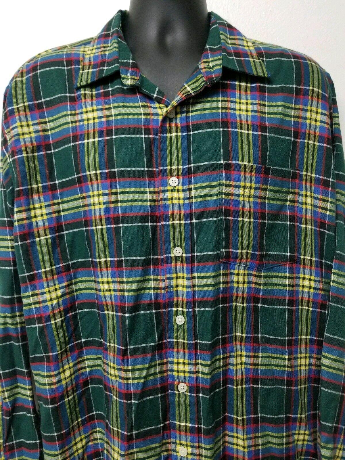 fcac791b8 Bill Blass Men's Shirt Long Sleeve Green Tartan Plaid Button Front XL