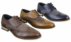 5cc8e6ad0bfe78 Details about Chaussures homme cuir et tweed style chic décontracté Peaky  Blinders vintage