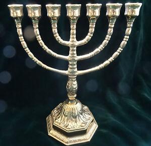 Ebraico-7-Armiger-Kerzenleuchter-100-Messing-Kandelaber-Juedische-Menora-22cm