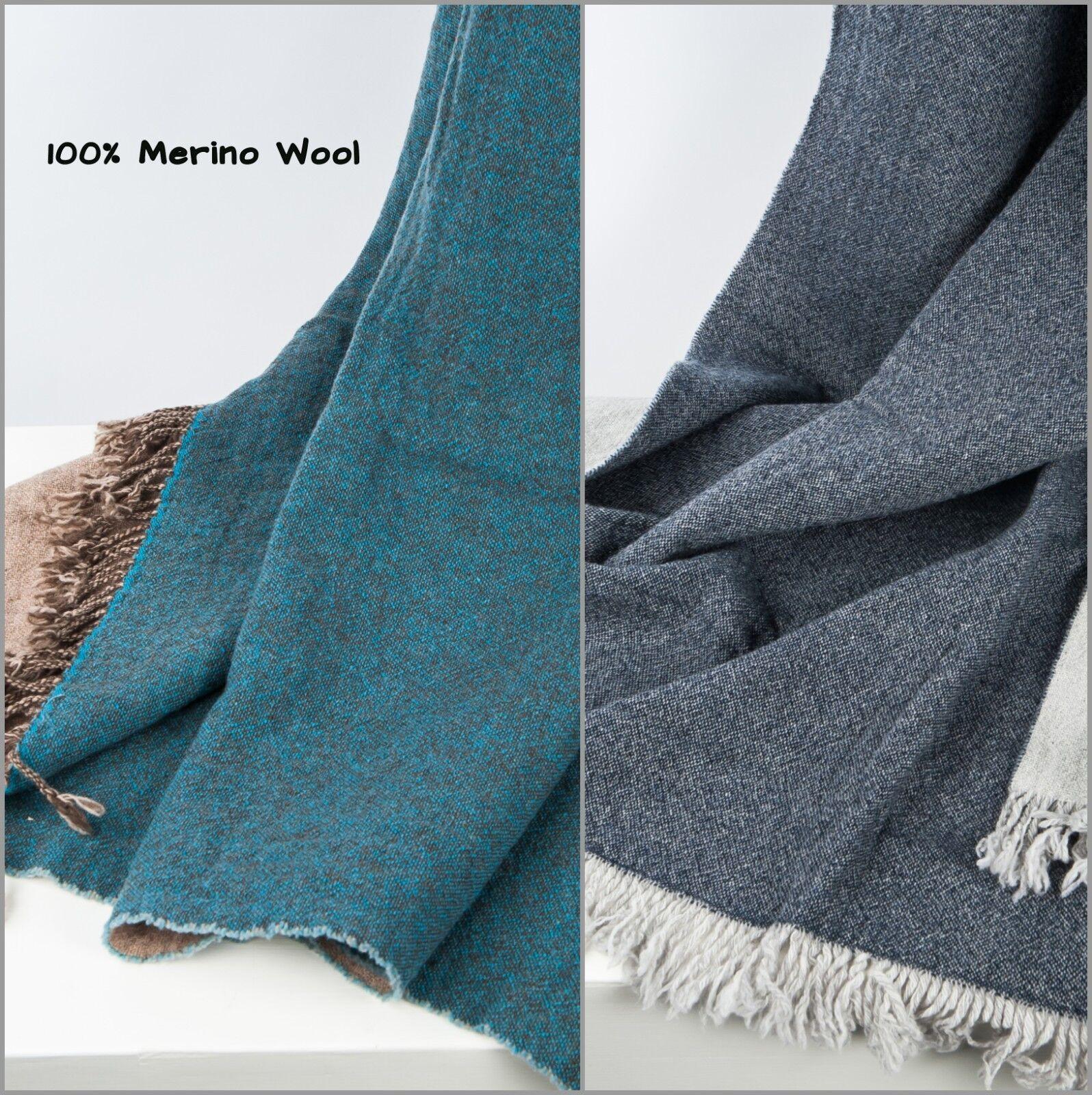 Merino Wool Throw Blanket Natural 100% Superfine Merino Wool Plaid Perfect Gift