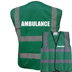 PRINTED AMBULANCE HIGH VISIBILITY YELLOW VEST HI VIS VIZ SAFETY WAISTCOAT MEDIC