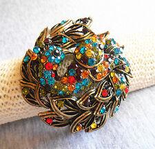 Elegant Retro Multicolour Crystal Rhinestone Peacock Enamel Paint Wide Bracelet