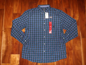 NWT-Mens-CHAPS-Blue-Green-Button-Front-Plaid-Dress-Shirt-Long-Sleeve-Sz-3XL-55