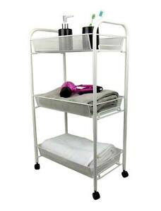 Image Is Loading 3 Tier White Bathroom Storage Trolley Toiletry Linen