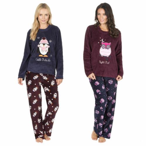 Femmes Corail Polaire Pyjama Set Fantaisie Hibou Top Bottoms Lounge Night Wear UK 8-22