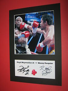 FLOYD MAYWEATHER JR amp MANNY PACQUIAO BOXING A4 MOUNT SIGNED REPRINT AUTOGRAPHS - newcastle underlyme, Staffordshire, United Kingdom - returns excepted within 7 days Most purchases from business sellers are protected by the Consumer Contract Regulations 2013 which give you the right to cancel the purchase within 14 days after the day y - newcastle underlyme, Staffordshire, United Kingdom